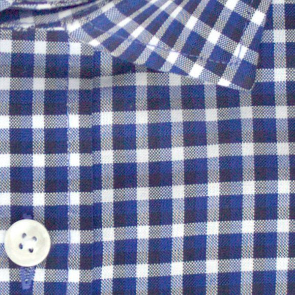 Zoomed in photo of Multi Check Casual Shirt in Blue, Black ,and White