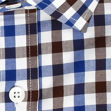 Zoomed in Photo of the Multicolor Gingham Casual Shirt in Brown / Navy Blue