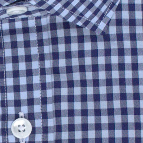 Zoomed in Photo of the Multicolor Gingham Casual Shirt in Dark Blue / Light Blue
