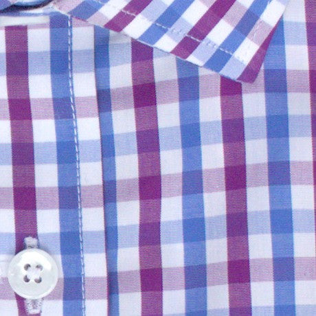 Zoomed in Photo of the Multicolor Gingham Casual Shirt in Eggplant / Sky Blue