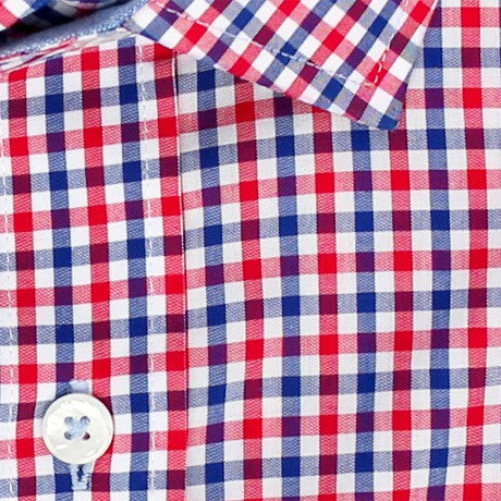 Zoomed in Photo of the Multicolor Gingham Casual Shirt in Red / Navy Blue
