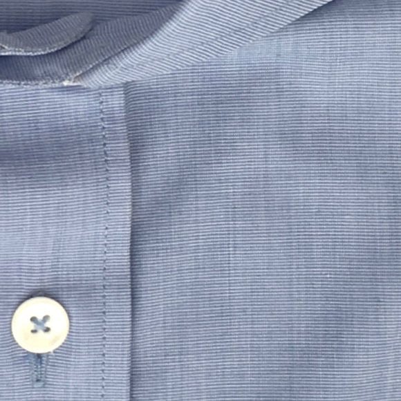 Zoomed-in Photo of Non-Iron End-on-End Dress Shirt in Blue