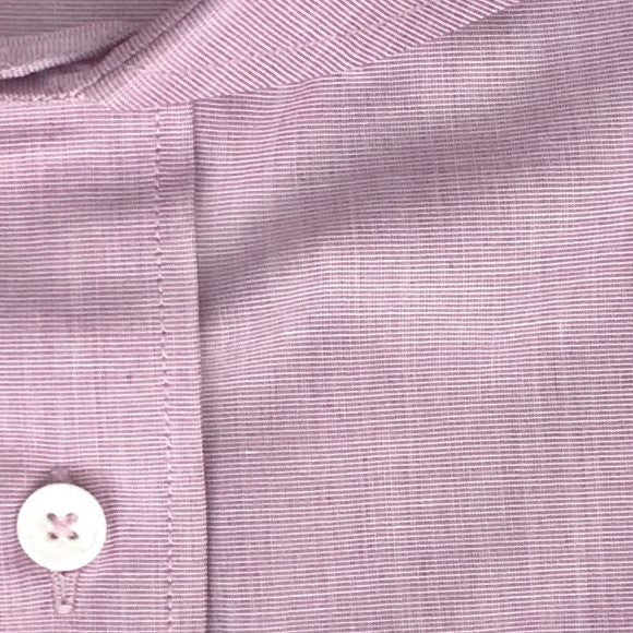 Zoomed-in Photo of Non-Iron End-on-End Dress Shirt in Maroon