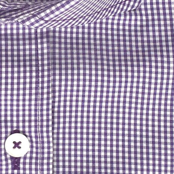 Zoomed-in Photo of Non-Iron Mini Gingham Casual Shirt in Purple
