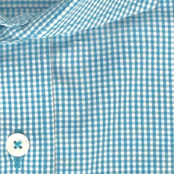 Zoomed-in Photo of Non-Iron Mini Gingham Casual Shirt in Turqouise