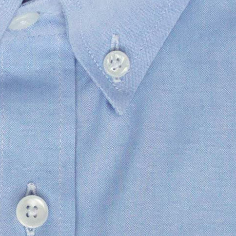 Zoomed in Photo of the Oxford Solid Dress Shirt in Blue