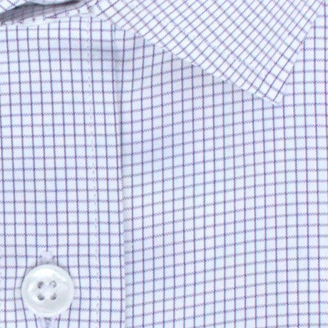 Zoomed in Photo of the Pinpoint Oxford Grid Dress Shirt in Eggplant