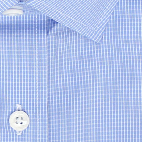 Zoomed in Photo of the Pinpoint Oxford Grid Dress Shirt in Light Blue