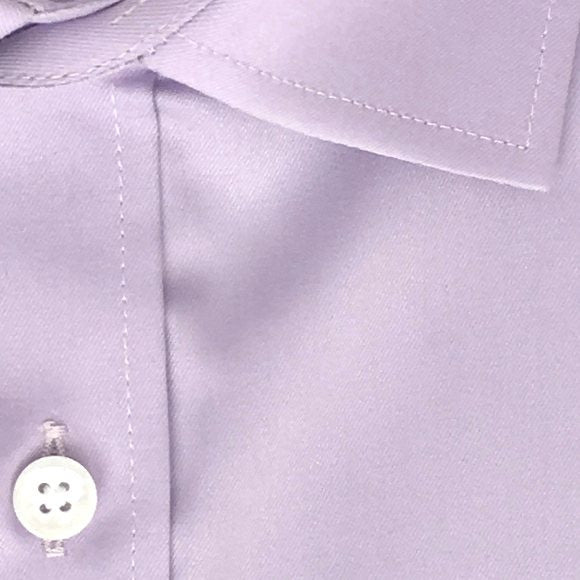 Zoomed-in Photo of Solid Twill Dress Shirt in Lavender