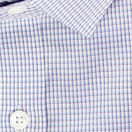Zoomed in Photo of the Startup Grid Casual Shirt in Light Blue / Red