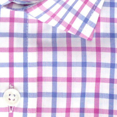 Zoomed in photo of Tattersall Casual Shirt in Eggplant and Blue Violet