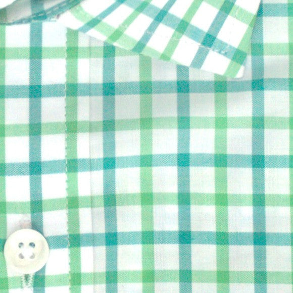 Zoomed in photo of Tattersall Casual Shirt in Kelly Green and Pine Green