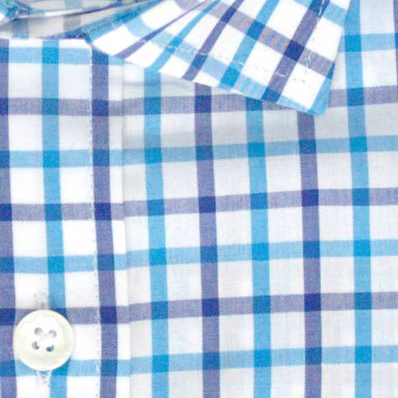 Zoomed in photo of Tattersall Casual Shirt in Navy Blue and Turquoise