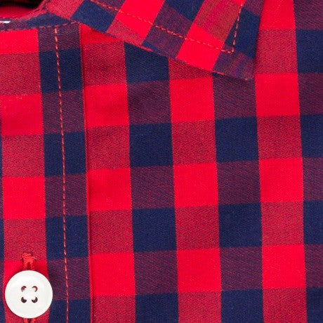 Zoomed in photo of the Game Day Red Blue Check Casual Shirt