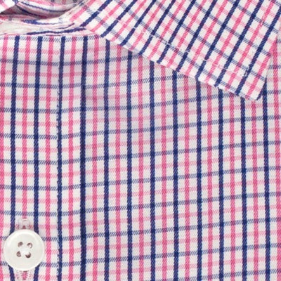 Zoomed in photo of the Peach and Blue Tattersall Dress Shirt