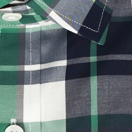 Zoomed in photo of the Plaid Casual Shirt in Seafoam