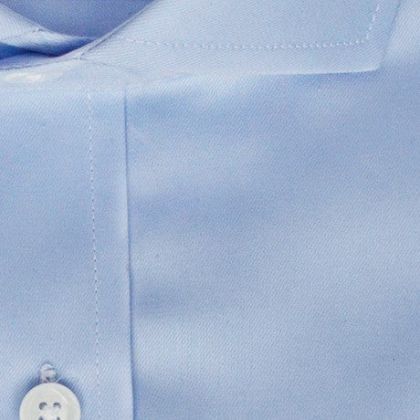 Zoomed in photo of the Solid Twill Dress Shirt in Light Blue