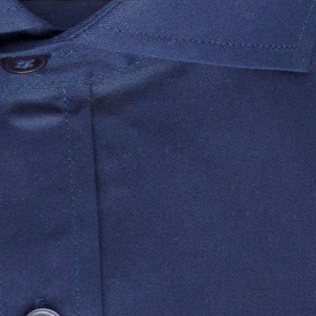 Zoomed in photo of the Solid Twill Dress Shirt in Midnight Blue