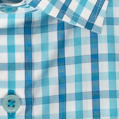 Zoomed in photo of the Turquoise Check Casual Shirt