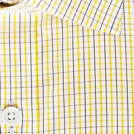 Zoomed in photo of the Yellow and Black Tattersall Dress Shirt