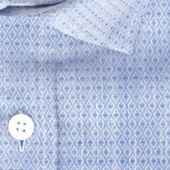 Zoomed in photo of Vertical Diamond Eyes Casual Shirt in Blue
