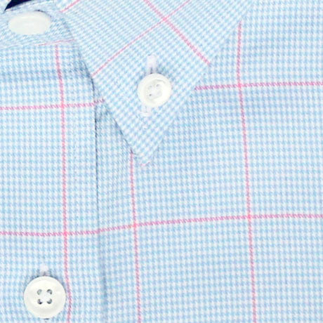 Zoomed in Photo of the Windowpane Houndstooth Dress Shirt in Pink/Light Blue