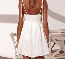Load image into Gallery viewer, Eloisa white summer bow beach dress