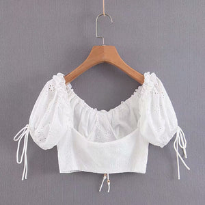 Juno - white cropped blouse