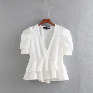 Ara - V Neck basic white blouse