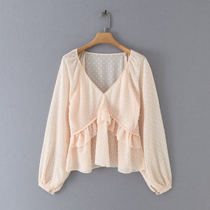 Melly - V- Neck ruffle blouse