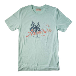 "mint colored t-shirt with two green pine trees and the word ""adventure"" in dark orange on it"