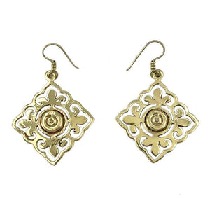 Pair of brass earrings in diamond shapes with a round center and filigree style designs