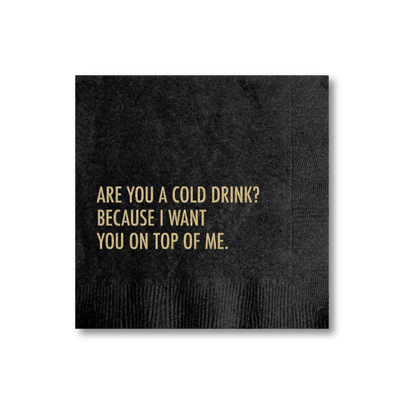 A black napkin with a golden text: