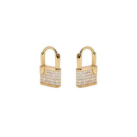 A pair of lock shaped huggies earrings.