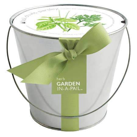 A garden in a pail, herb growing kit.