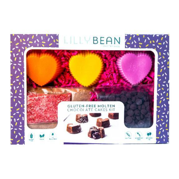Chocolate love cakes baking kit with colorful heart shaped molds.