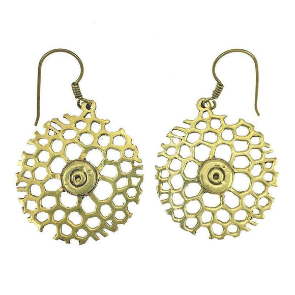 Brass earrings made out of bullets in honey comb shape.
