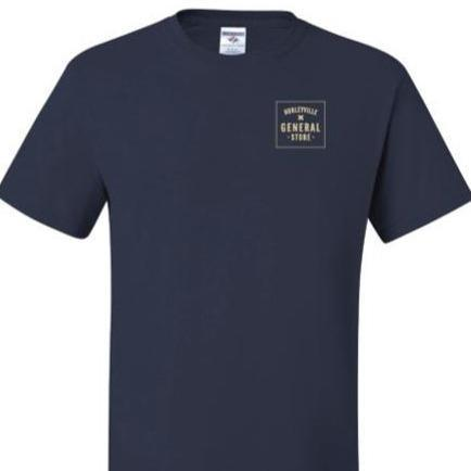 A navy colored t-shirt with tan text