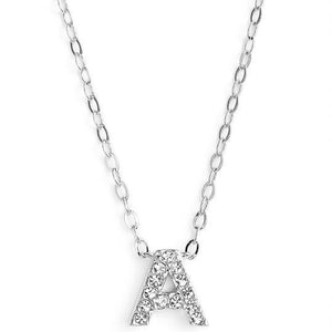 Silver finish chain necklace with A shaped pendent made with CZ stones.