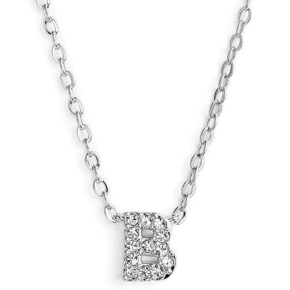 Silver finish chain necklace with B shaped pendent made with CZ stones.