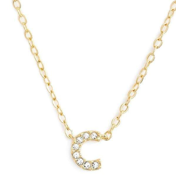 Gold finish chain necklace with C shaped pendent made with CZ stones.