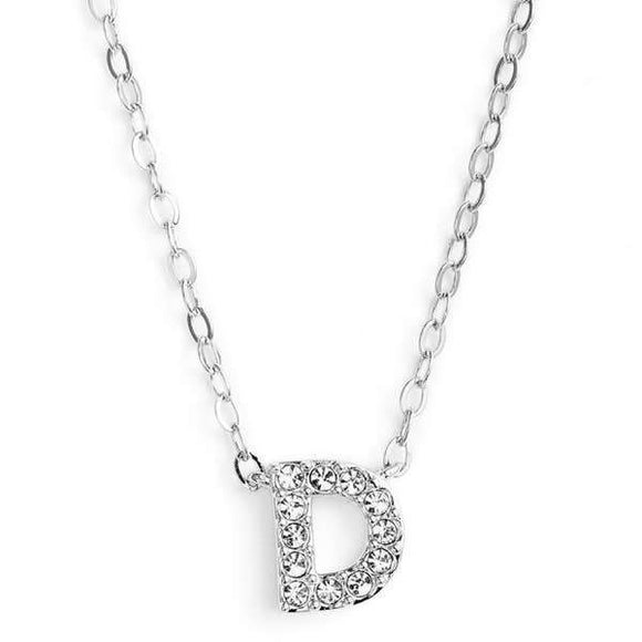 Silver finish chain necklace with D shaped pendent made with CZ stones.