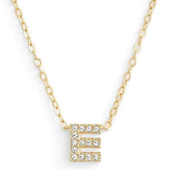 Gold finish chain necklace with E shaped pendent made with CZ stones.
