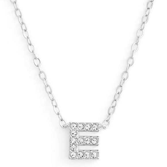 Silver finish chain necklace with E shaped pendent made with CZ stones.