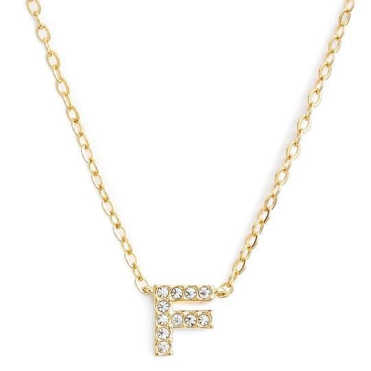 Gold finish chain necklace with F shaped pendent made with CZ stones.