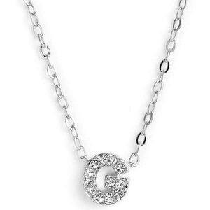 Silver finish chain necklace with G shaped pendent made with CZ stones.