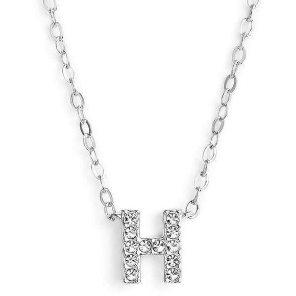 Silver finish chain necklace with H shaped pendent made with CZ stones.