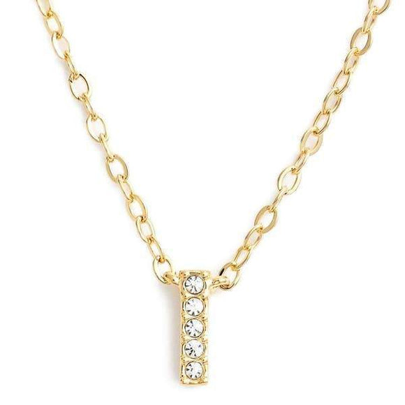 Gold finish chain necklace with I shaped pendent made with CZ stones.