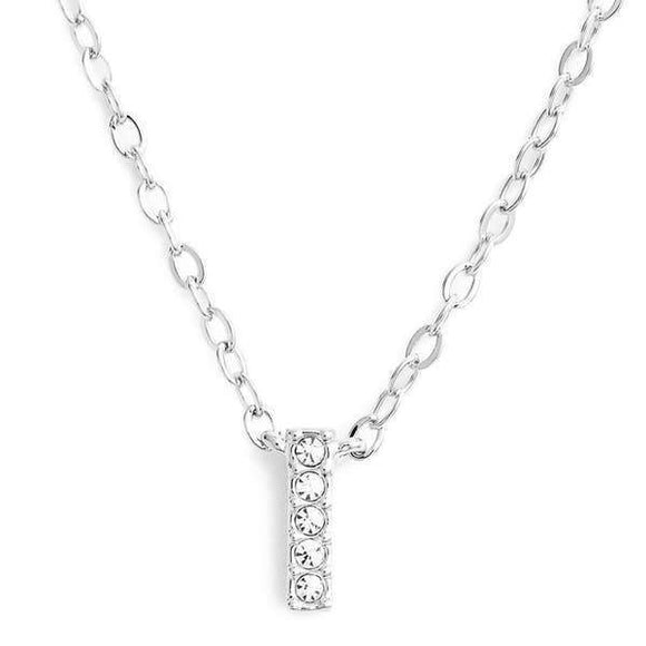 Silver finish chain necklace with I shaped pendent made with CZ stones.