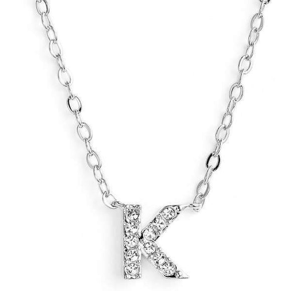 Silver finish chain necklace with K shaped pendent made with CZ stones.